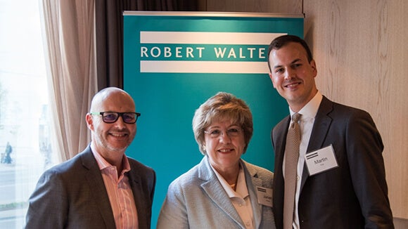 Three employees at Robert Walters at launch event, Toronto
