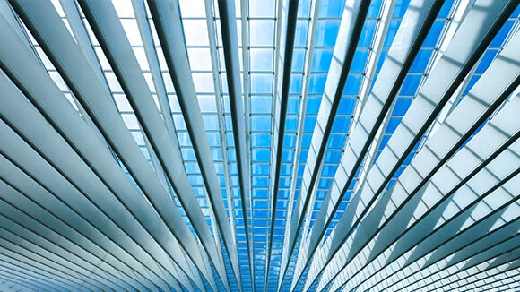 blue ceiling of an office in wave effect